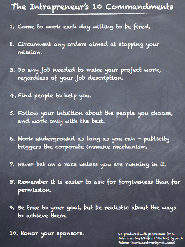 Intrapreneur 10 Commandments